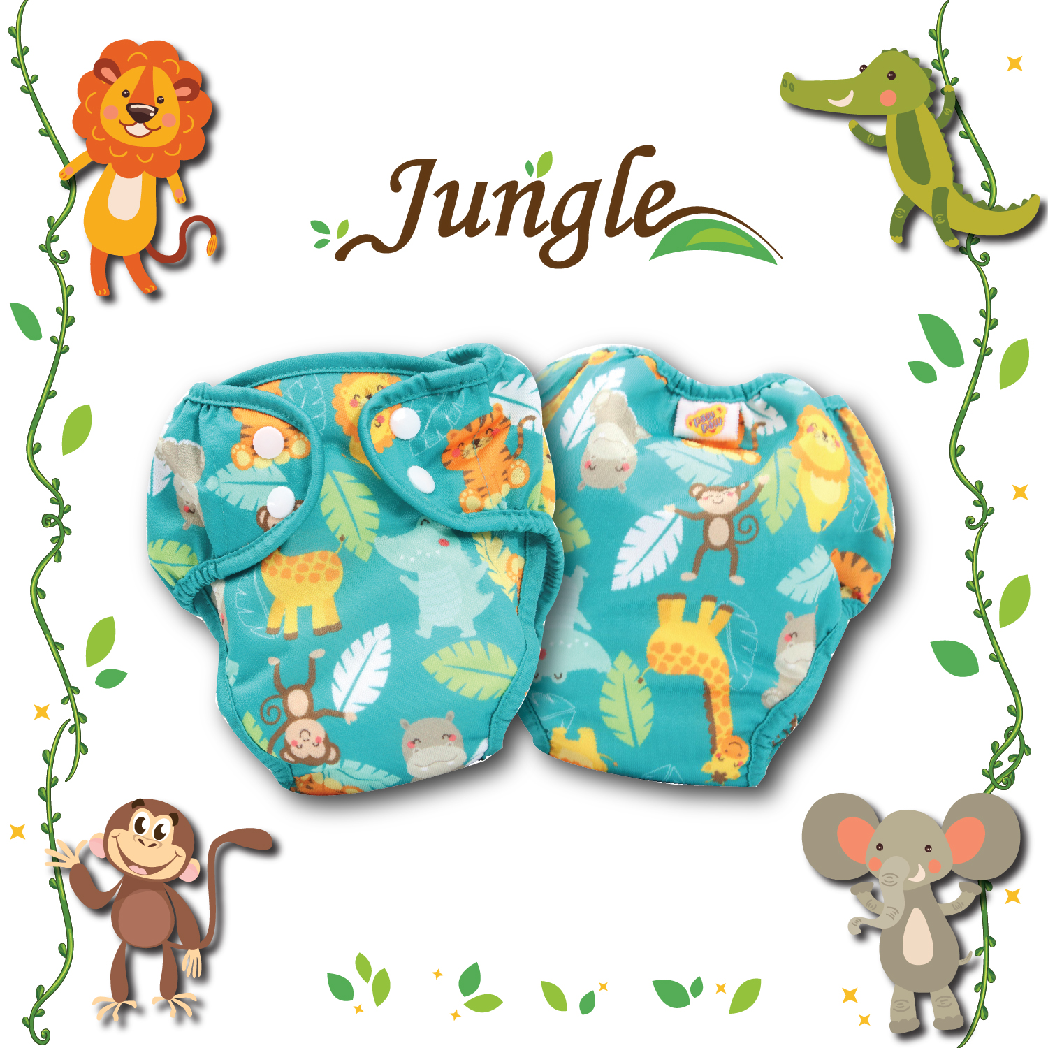 Paw Paw Diaper - Cute Jungle Print