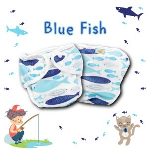 Paw Paw Diaper - Blue Fish Print
